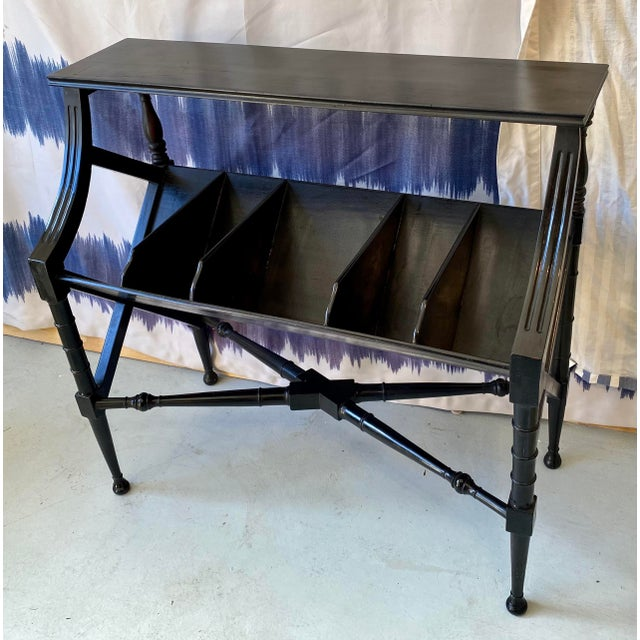 Black Vintage Distressed Black Open Storage French Console Table Wood For Sale - Image 8 of 12