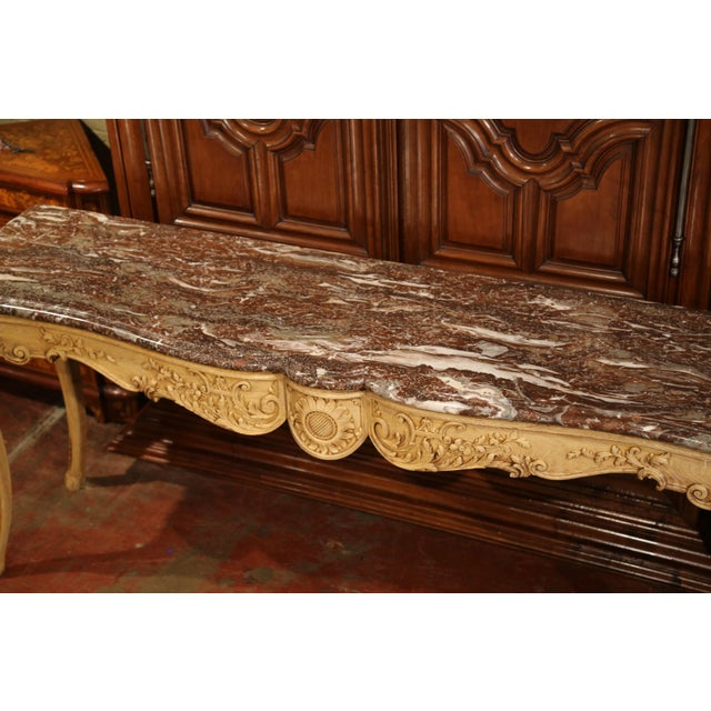 19th Century French Louis XV Carved Oak Serpentine Console Table With Marble Top For Sale - Image 4 of 9