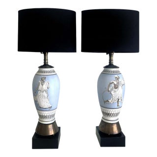 1960s Vintage Figural Porcelain Table Lamps After Fornasetti - a Pair For Sale