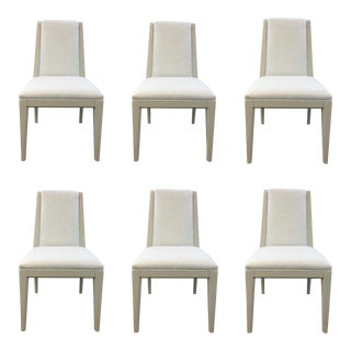 Caracole Modern Greige Linen Dining Chairs Set of Six For Sale