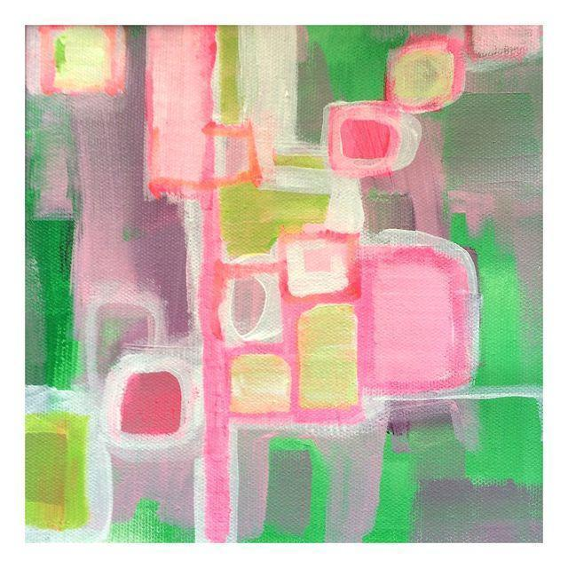 Pink & Green Abstract Painting by Linnea Heide - Image 1 of 4