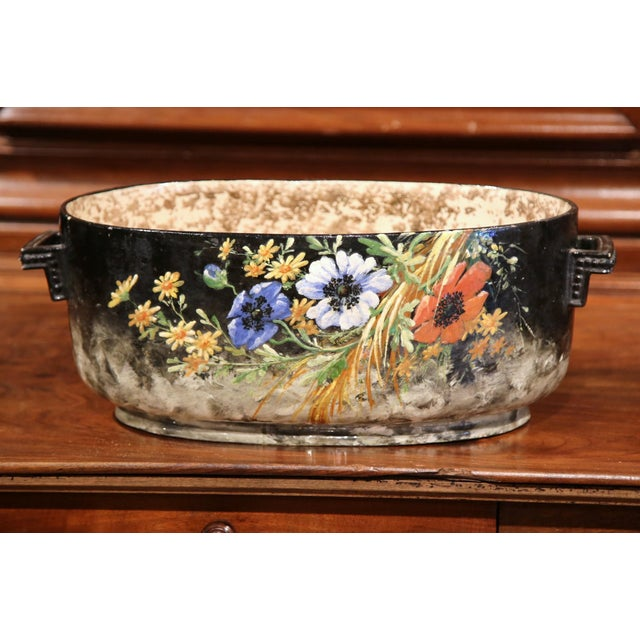 Ceramic Early 20th Century French Handpainted Jardiniere from Montigny sur Loing For Sale - Image 7 of 9