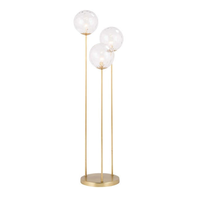 Rio Triple Floor Lamp in Natural Brass For Sale