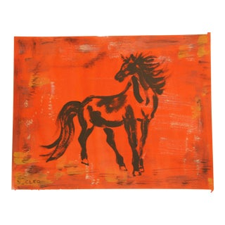 Chinoiserie Horse Painting by Cleo Plowden For Sale