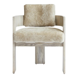 Contemporary C Back Dining Chair Upholstered in Shearling by Cuff Studio For Sale