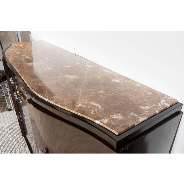 Art Deco Book-Matched Rosewood and Emperador Marble-Top Sideboard For Sale - Image 9 of 11