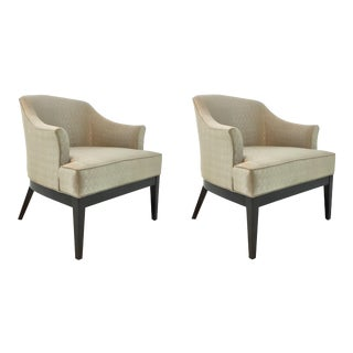 Transitional Kravet Champagne Silver Paden Lounge Chairs Pair For Sale