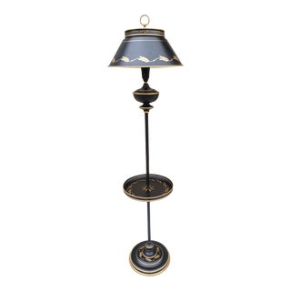 Mid Century Toleware Floor Lamp With Tray For Sale