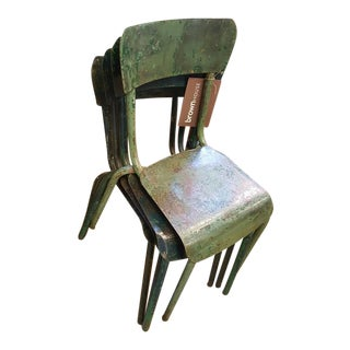 Circa 1940 Vintage French Green Painted Iron Chairs - Set of 4
