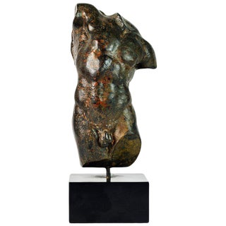 Dramatic 20th Century Male Nude Torso Sculpture After the Antique For Sale