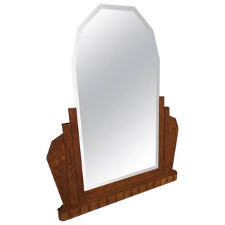 French Art Deco Burl Wood Wall or Standing Mirror For Sale
