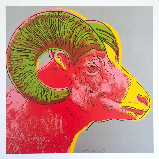 "Paper Andy Warhol Estate Rare Vintage 1992 Endangered Species Collector's Lithograph Print "" Bighorn Ram "" 1983 For Sale - Image 7 of 9"
