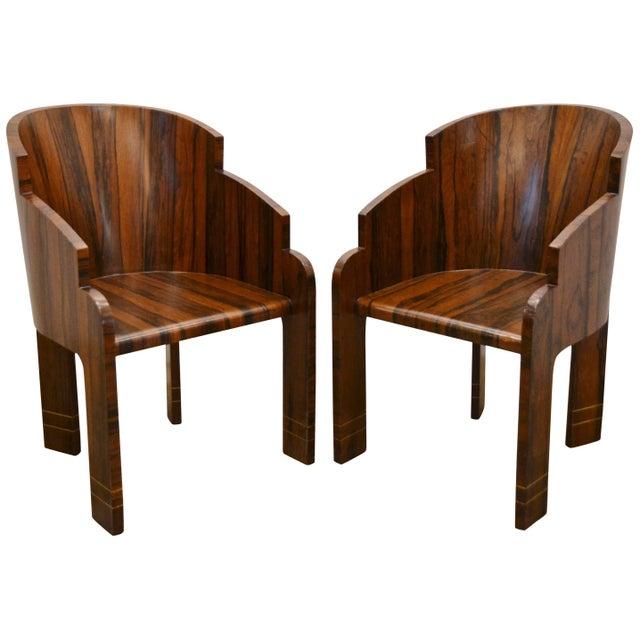 World-Class Pair of Art Deco Rosewood Barrel Back Tub Chairs, Circa ...