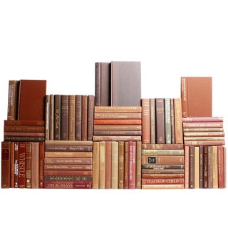 Modern Chocolate Book Wall : Set of Seventy Five Decorative Books