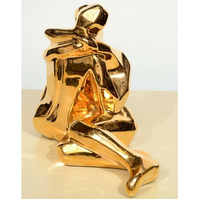 1970s Mid-Century Modern 24-Karat Gold Plated Ceramic Cubist Sculpture by Jaru For Sale - Image 5 of 10