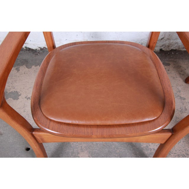 Wood 1960s Sculpted Solid Teak and Leather Studio Crafted Club Chairs - a Pair For Sale - Image 7 of 13