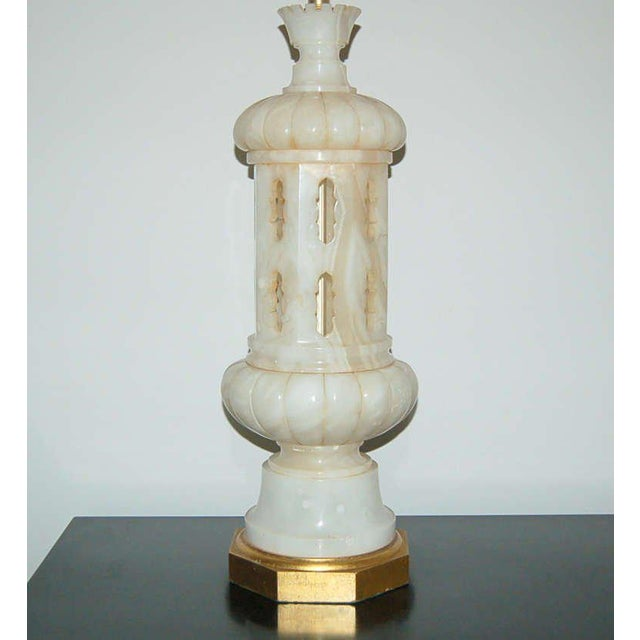 Italian Marbro Alabaster Table Lamp White Large For Sale - Image 3 of 10
