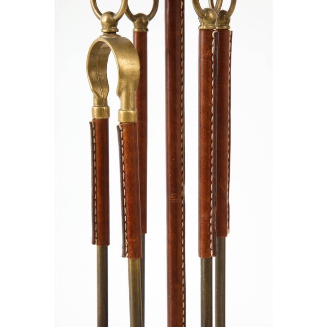 Brown 1950s Stitched Leather Fire Tools by Jacques Adnet For Sale - Image 8 of 13