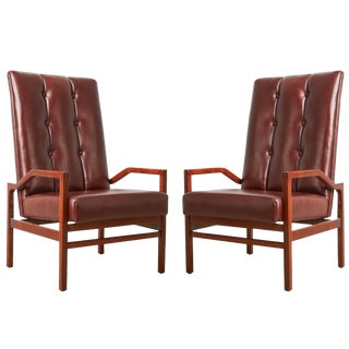 Danish Teak and Tufted Leather Pair of Armchairs, Circa 1960 For Sale