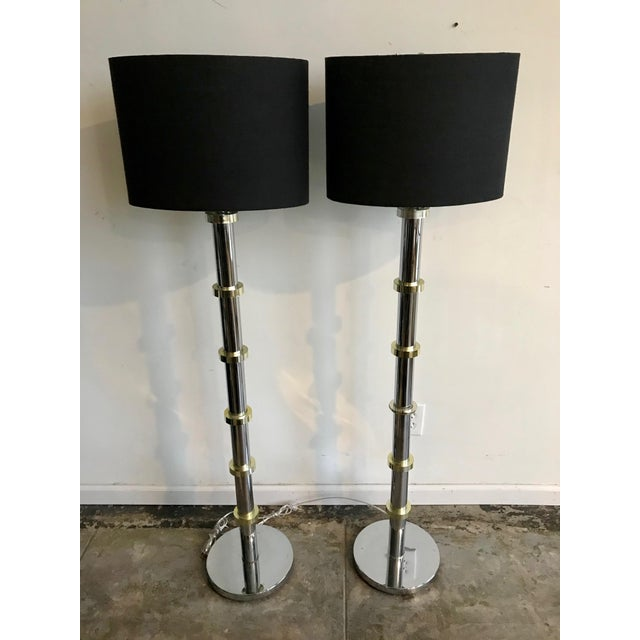 Vintage Chrome and Gold Stand-Up Floor Lamps - A Pair For Sale In Los Angeles - Image 6 of 6