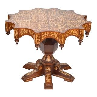 Italian Inlaid Scalloped Edge Center Table