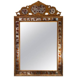 Maison Jansen Louis XV Style Gilt and Églomisé Wall or Console Mirror