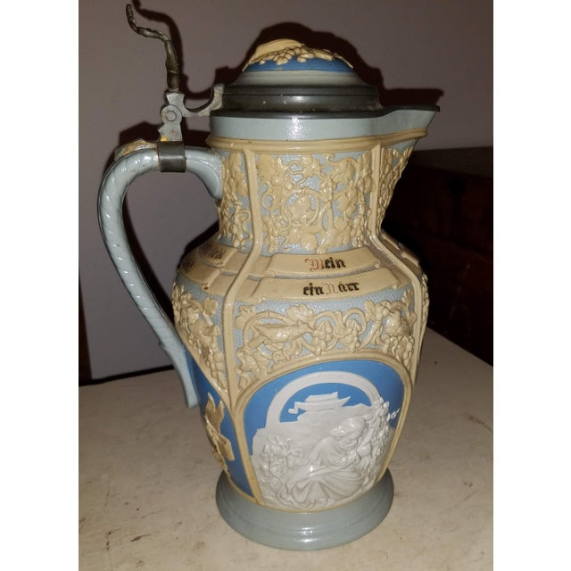 Art Nouveau Mettlach Villeroy & Boch Large Lidded Decorative and Embossed Stein C. 1899 For Sale - Image 3 of 7