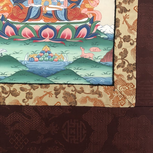 Religious Antique Tibetan Thangka Wall Hanging - Burgundy Dragon Background For Sale - Image 3 of 7