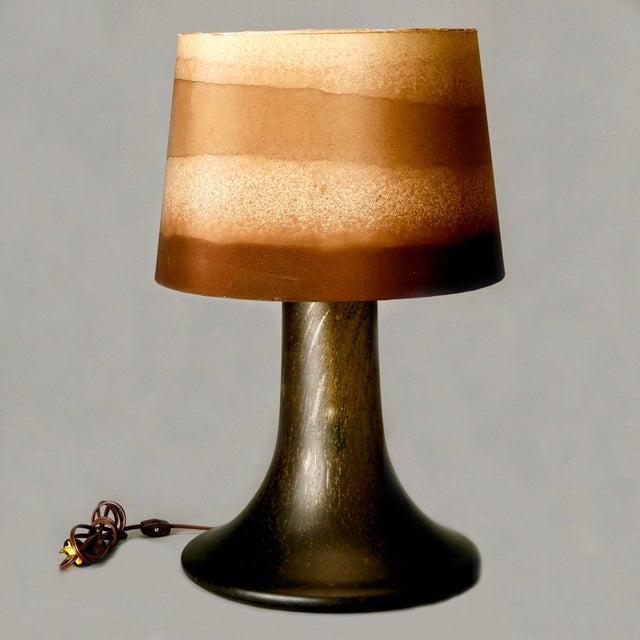 Mid Century Brown Art Glass Lamp With Original Striped Shade - Image 2 of 6