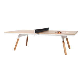 RS Barcelona You and Me Indoor Ping Pong Table, Oak and White For Sale