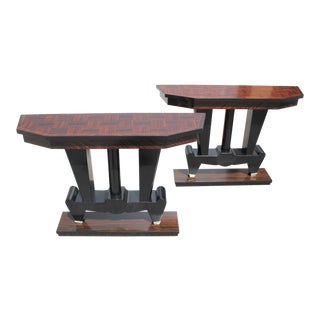 Spectacular French Art Deco Macassar Ebony Console Tables Circa 1940s - A Pair For Sale