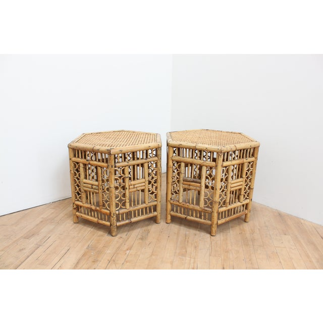 Chinese Chippendale Hexagonal Side Tables- Brighton Pavilion Pair For Sale - Image 10 of 10