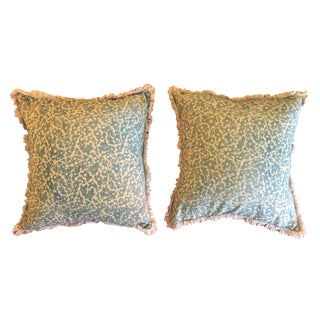 Vintage Faded Blue Pillows With Fringe - A Pair For Sale