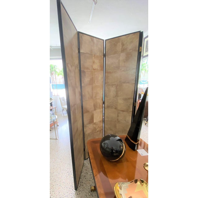 Vintage Jean Michel Frank Style Parchment Room Divider Screen For Sale - Image 10 of 11