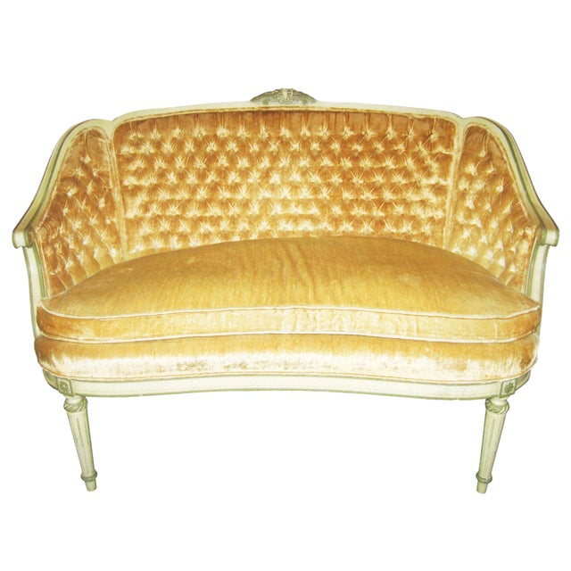 Louis XV Style Yellow Loveseat - Image 1 of 5