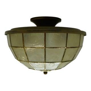 1950s Feldman Capiz Flush Mount Ceiling Light Fixture For Sale