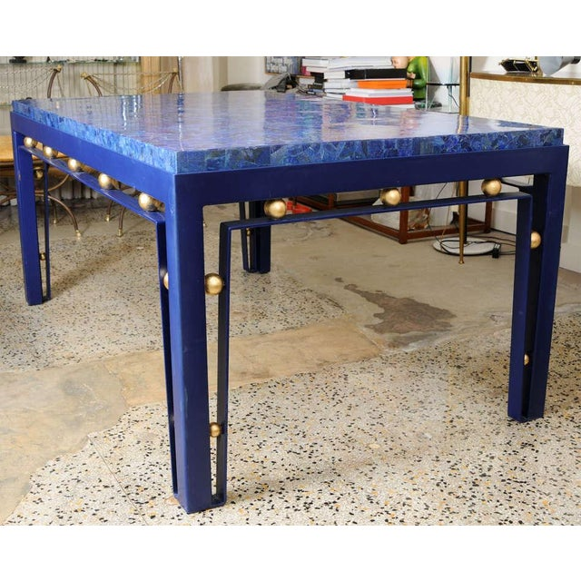 Important Iron Library Table with Lapis Lazuli Top in the Manner of Royere - Image 8 of 8