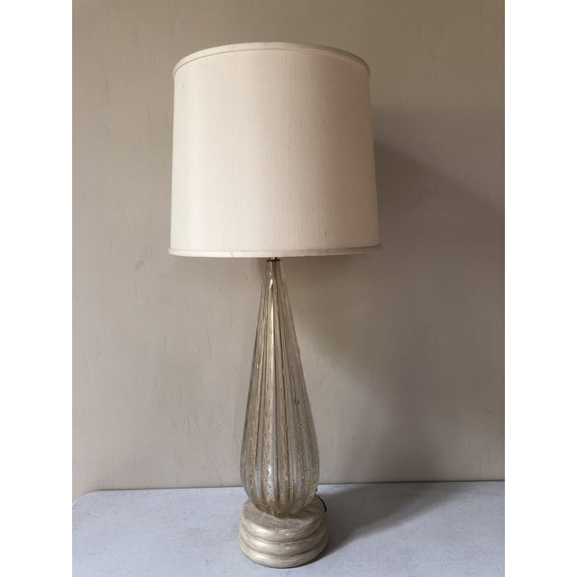 1940s Gold Fleck Barovier and Toso Murano Glass Lamp Circa 1950 For Sale - Image 5 of 6