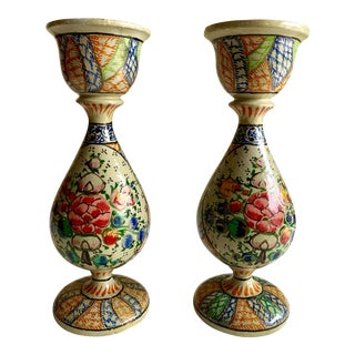 Petite Painted Wood Candleholders, a Pair For Sale