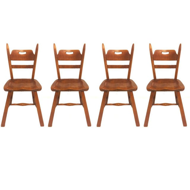 Brown Set of 6 Cushman Vermont Rock Maple Dining Chairs Designed by Herman DeVries For Sale - Image 8 of 13
