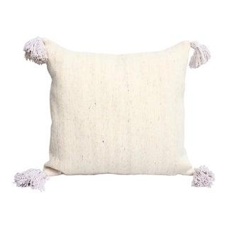 White Berber Tasseled Pillow For Sale