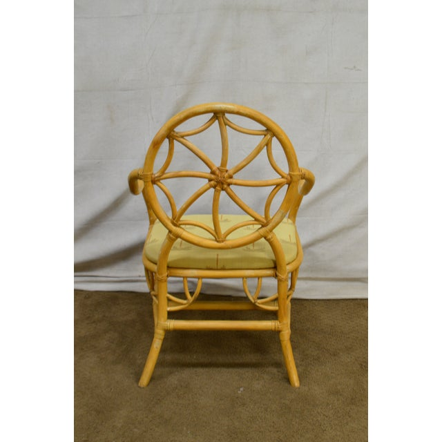 McGuire Style Vintage Rattan Bamboo Spider Back Dining Chairs - Set of 8 For Sale In Philadelphia - Image 6 of 13