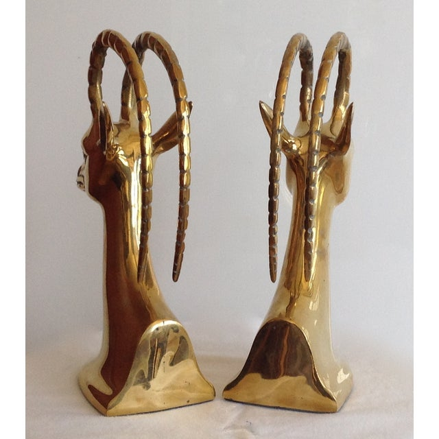 Brass Brass Ibex Bookends - Pair For Sale - Image 7 of 7