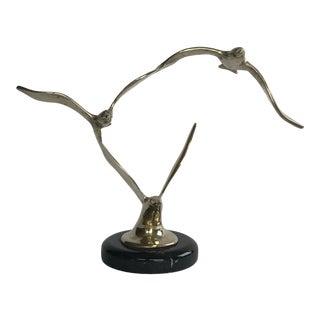 Vintage Mid-Century Brass Birds in Flight Figurine For Sale