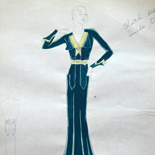 Edith Sparag 1930s Blue Dress Fashion Sketch For Sale - Image 4 of 5