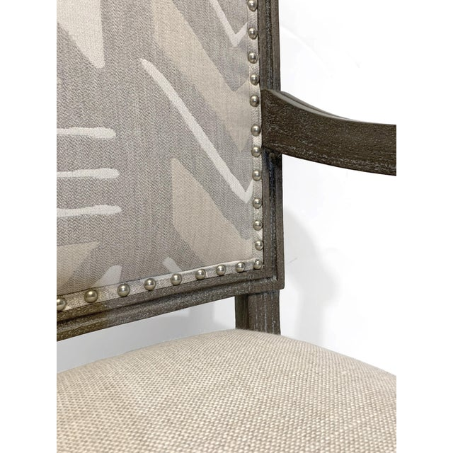 Gray Palecek Lion Square Back Arm Chair For Sale - Image 8 of 10