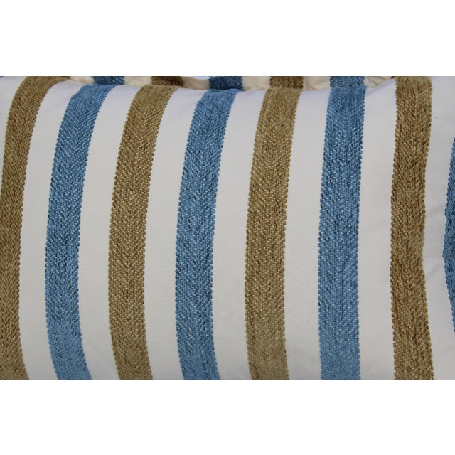 Contemporary Striped Silk DownContemporary Striped Silk Down Pillows - a Pair For Sale - Image 9 of 13