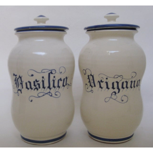 Italian Ceramic Kitchen Canisters - A Pair For Sale - Image 3 of 6