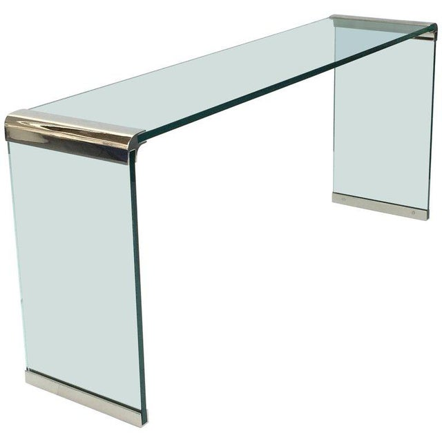 Modern Nickel and Glass Console Table by Leon Rosen for Pace Collection For Sale - Image 3 of 7