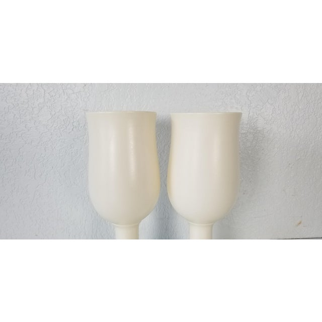 Vintage Royal Haeger Flat White Glazed Ceramic Vases - a Pair For Sale - Image 4 of 7